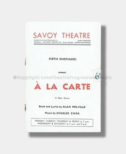1948 A LA CARTE Savoy Theatre