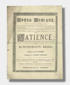 1881 PATIENCE Opera Comique Gilbert and Sullivan