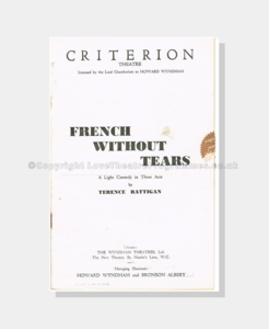 Theatre, Theatre Programmes,1936 , Criterion French without Tears