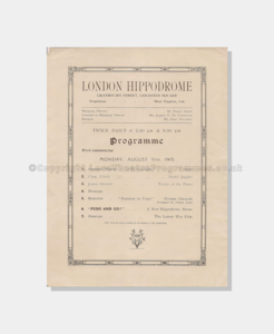 1915 London Hippodrome Push & Go  5191910 Insert